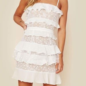 For Love & Lemons Cosmic Tiered Lace Mini Dress